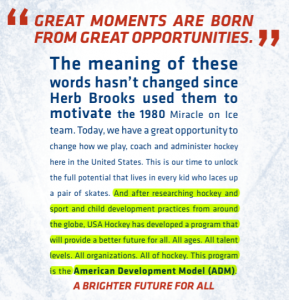 One Size Fits All Hockey Development? Actual screen grab from USA Hockey's ADM Guide, published in 2011
